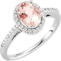14kt White Gold Oval Morganite & 1/5 CTW Diamond Halo Ring