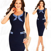Navy Sleeveless Striped Tie Collar Bodycon Midi Dress