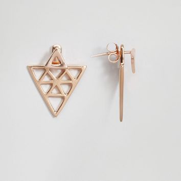 ASOS Rose Gold Plated Sterling Silver Triangle Swing Earrings