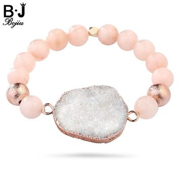 BOJIU Women's Bracelet Chakra Bracelet For Women Natural Stone Druzy Elastic Beaded Fashion Women Bracelet Jewelry BC64