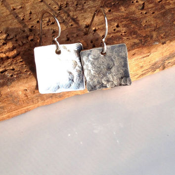 Etsy, Etsy Jewelry, Square Earrings, Silver Filled, Hammered Earrings, Dangle Earrings, Sterling Earwires