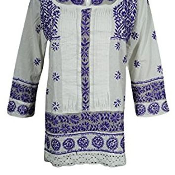 Mogul Womens Chikan Tunic Top Floral Embroidered Cotton White Purple Shirt Blouse
