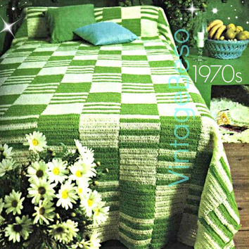 Super EASY Bedspread Crochet Pattern 1970s Throw Blanket Crochet Pattern Cover Pattern-Boho Bohemian Decor - Pdf Pattern - INSTANT Download