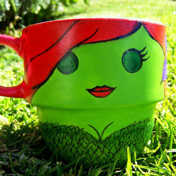 Handpainted Poison Ivy Stackable Mug by TheCornerGeekery on Etsy