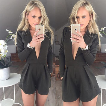 Deep V-neck Long Sleeves Empire Brief Jumpsuits