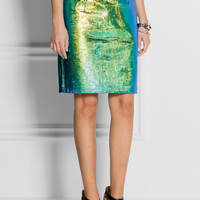 Milly | Edith holographic reptile-effect leather skirt | NET-A-PORTER.COM