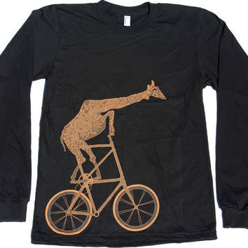 Unisex Giraffe on BICYCLE american apparel by darkcycleclothing
