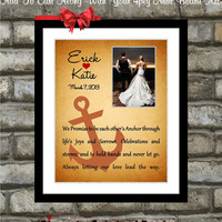 Custom Wedding Gift Personalized For Couple: Anchor Nautical Wedding Anniversary Gift Love Heart 11x14 Photo Mat Home Wall Art Print Poster