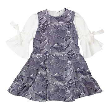 Chelli Girls' Navy Geometric Dress