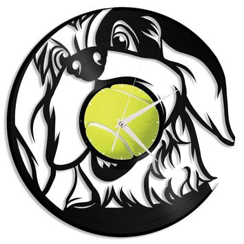 Dog Lover Gift, Dog Clock, Gift Idea for Dog Lovers, Dog Wall Art Decor, Animal Nursery Decor, Record Vinyl Art, Unique Wall Decoration
