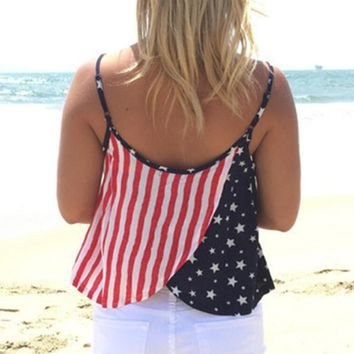 womens american flag printed tank top comfortable vest gift 90  number 1