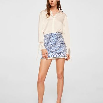 Embroidered cotton skirt - Women | MANGO USA