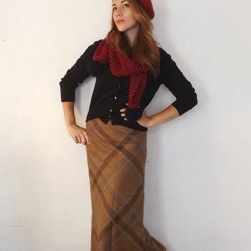 Vintage Size 6 Retro Ralph Lauren Pencil Maxi Skirt Long Classic Tan Plaid Wool Flanne