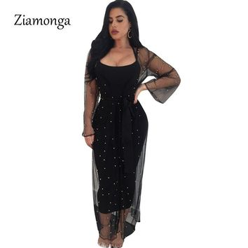 Ziamonga Runway Maxi Dress 2018 Long Sleeve Two Piece Set Diamond Spring Dress 2 Pieces Sheer Mesh Party Dresses Women Outfits