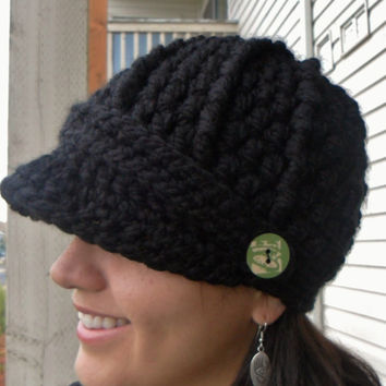Crochet Newsboy Hat Black You Pick Size by SoLaynaInspirations