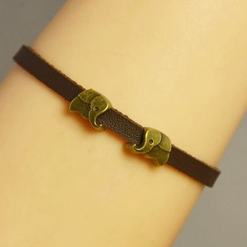 Elephant Bracelet Leather bracelet Charm Bracelet Antique Bronze = 1931793284