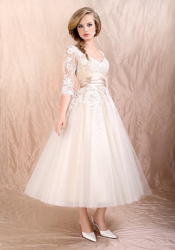 Retro 50s 60s tea length long sleeves from jojo dress for Retro tea length wedding dresses