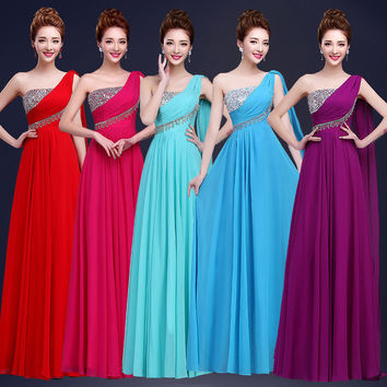 Any Colors One Shoulder Bridesmaid Gowns Wedding Prom Dress Party Dress Cheap Long Bridesmaid Dresses