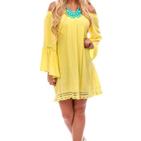 Yellow Bell Sleeve Off Shoulder Dress or Top