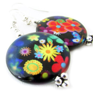 Retro Hippie Psychedelic Earrings