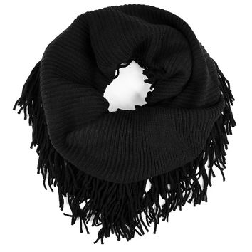 Solid Infinity Fringed Scarf