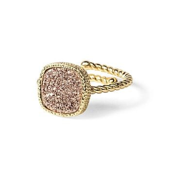 Princess Rose Gold Druzy Cable Ring