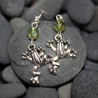 Frog earrings, silver frog earring, frog lovers, frog collectors, green frog beads