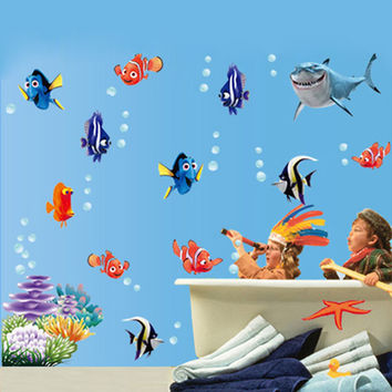 Nemo Fish Bubble starfish Cartoon Wall Sticker for Wall Stickers shower Bathroom Decals bathroom for Nursery baby on bath
