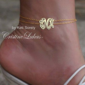 AUGUAU 14k Yellow Gold-filled Double Chain Anklet Bracelet with Monogrammed Initials