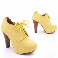 wooden heel bootie $32.60 in ORANGE YELLOW - Booties | GoJane.com