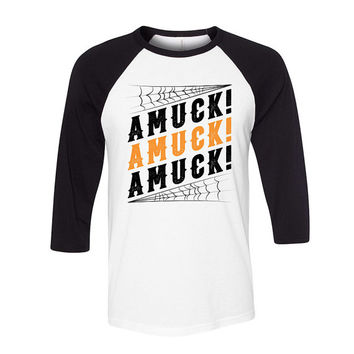 Baseball Tee - Amuck! Amuck! Amuck! Hocus Pocus - Raglan T-Shirt Mens Ladies Womens Quote