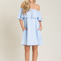 Cammie Blue Striped Off the Shoulder Dress