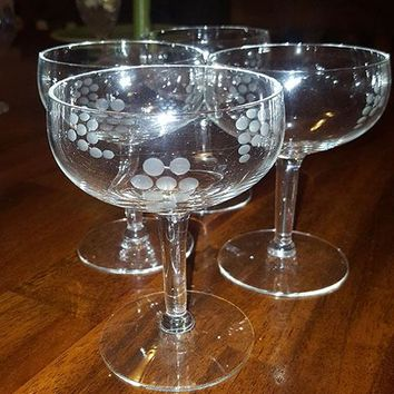 Wheel Cut Circles, Flower And Stem Champagne Coupes
