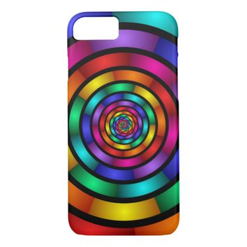Round and Psychedelic Colorful Modern Fractal Art iPhone 7 Case