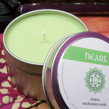 HEART CHAKRA CANDLE - Open Your Heart Center - Helps with Increasing Self-Love Compassion Love
