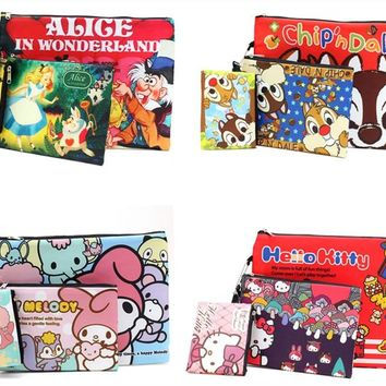 Alice In Wonderland Hello Kitty My Melody Chip and Dale Travel Cosmetic Bag for Make Up Toiletry Makeup Storage Bags Set of 3