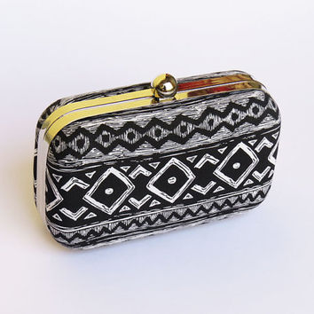 Tribal Black WHITE BOX CLUTCH / Wedding bag/ Bridesmaid bag printed clutch purse/ethnic party bags/kisslock clutch/geometric clutch handbag
