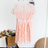 Lace Up Round Neck Hollow Out Tight Dress