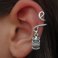 Ear Cuff  Cute Owl / Non Pierced / Cute Owl  Ear Cuff- Left Ear