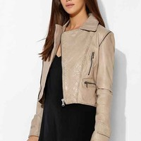 Abbey Lee Washed Leather Convertible Moto Jacket- Cream S