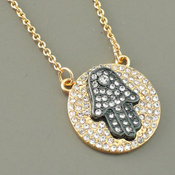 Hamsa Hand Necklace - Gold Necklace - Pave Diamond Crystal Necklace - Mixed Metal Necklace - handmade jewelry