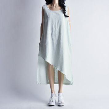 seafoam green asymmetric sleeveless minimalist linen dress / m / l
