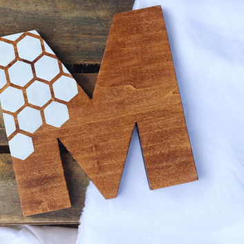 Hand painted honeycomb pattern wood monogram wall decor, ANY LETTER, hand cut