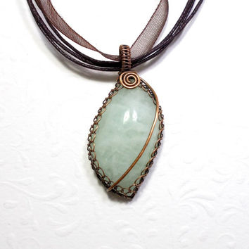 Aquamarine Copper Pendant Necklace, Wire Wrapped Rustic Copper Jewelry