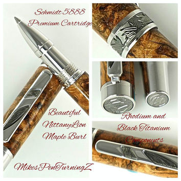 Custom Wooden Pen Rollerball Beautiful Highly Figured NittanyLion Maple Burl Rhodium and Black Titanium 747FPXLB