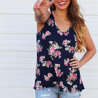 Navy Floral + Lace Back Tank
