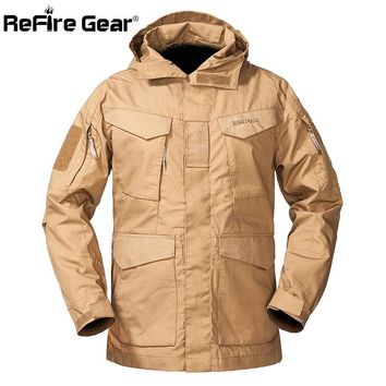 Trendy ReFire Gear M-65 Military Tactical Field Jacket Men Autumn Waterproof Windbreaker Md-long Pockets Flight Hoodie Army Coat Jacket AT_94_13