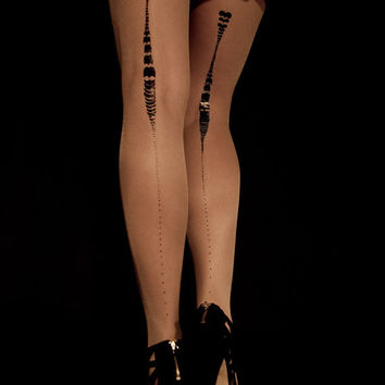 EXCLUSSIVE Hand Printed Tights - Charleston, Black on Sheer skin color, Flash Back collection