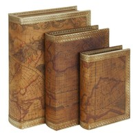 Benzara Wood Leather Book Box Set of 3