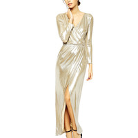 Thigh Split Wrap Front Maxi Dress